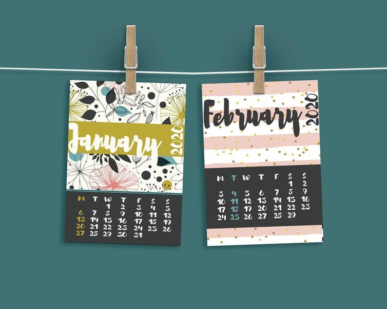 2020 calendar monthly printable  Date calendar with flower image 0