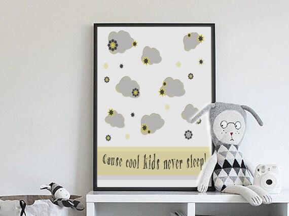 Wolken malen, Kinder-Wand-Kunst, coole Poster, Baby-Drucke, Digitaldrucke,  gelb, grau Drucke, Neugeborene Geschenk-Idee, Kunst für Poster, Room decor