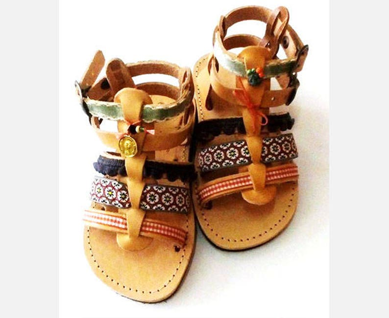 Baby sandals with soft sole  Gladiator sandals with pom poms image 0