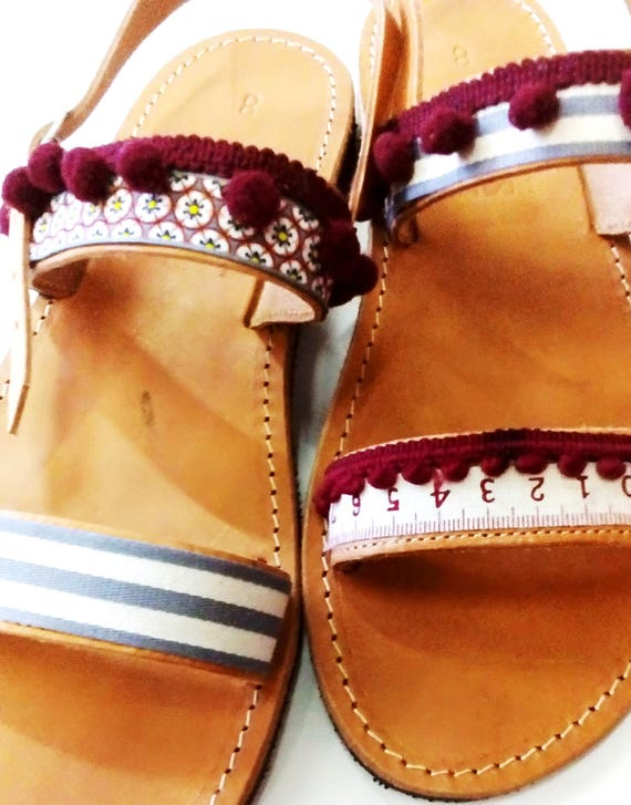 698c6c0257c2 Leather sandals handmade Slip on shoes decorated with pom