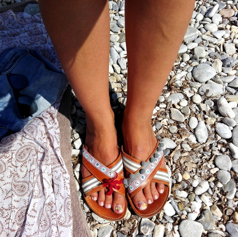 Greek sandals flat  Leather sandals decorated with navy image 0