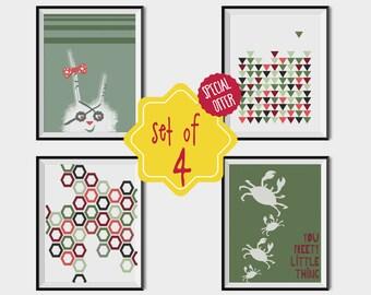 Set of 4 wall art, Nursery print set, Green print, Art for kids room, Green Orange prints, Animal art print, baby prints, baby wall art