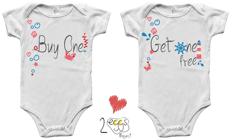 Twin onesies boy and girl  Buy one get one free onesie for image 0