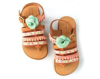 Sandals girls, Handmade sandals, Leather sandals, Sandals for girls, Pom pom sandals, Flower sandals