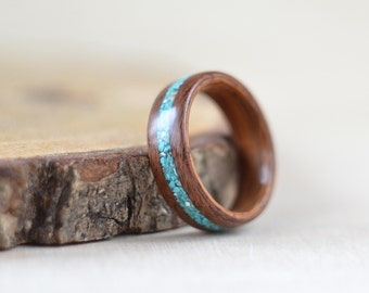Rosewood & turquoise bentwood ring