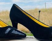 Woman s 6 Couture Vintage Python Black Suede Heels Pumps Gold Lined Snake Skin Heels 90s