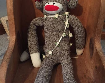 Vintage Sock Monkey with Red Bow