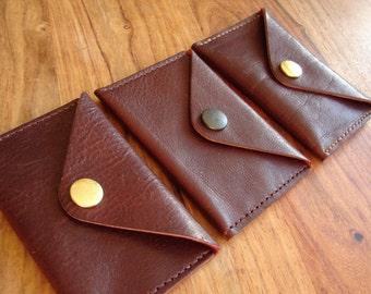 Plum leather envelope coin purse