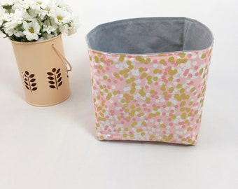 Gold polka dot pink storage basket