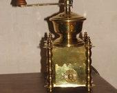 Brass mill coffee grinder antique