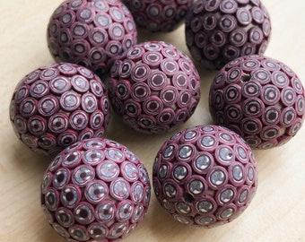 Set of 8 handmade Beads  Polymer Clay Beads  Polka Dots  Round Rustic Fimo beads  Matt beads  Handmade fimo  Beads for Jewelry Making.