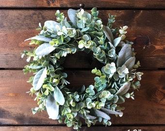 Faux Eucalyptus and Lambs Ear Wreath, Faux Greenery Wreath, Farmhouse Wreath, Mini Wreath, Small Wreath, Indoor Wreath, Candle Wreath