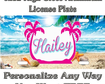 eb35e960f093 Beach Life Shells Custom Monogram License Plate Auto Car Tag Personalize  Background Wallpaper Aluminum Novelty