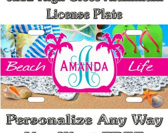 b75c93c2628a Beach Life Flip Flops Custom Monogram License Plate Auto Car Tag  Personalize Background Wallpaper Aluminum Novelty