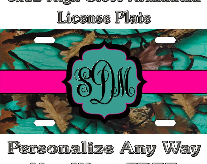 168d1cd5a92c Camo Camouflage Purple Teal Pink Sign Custom Monogram License Plate Auto  Car Tag Personalize Background Wallpaper