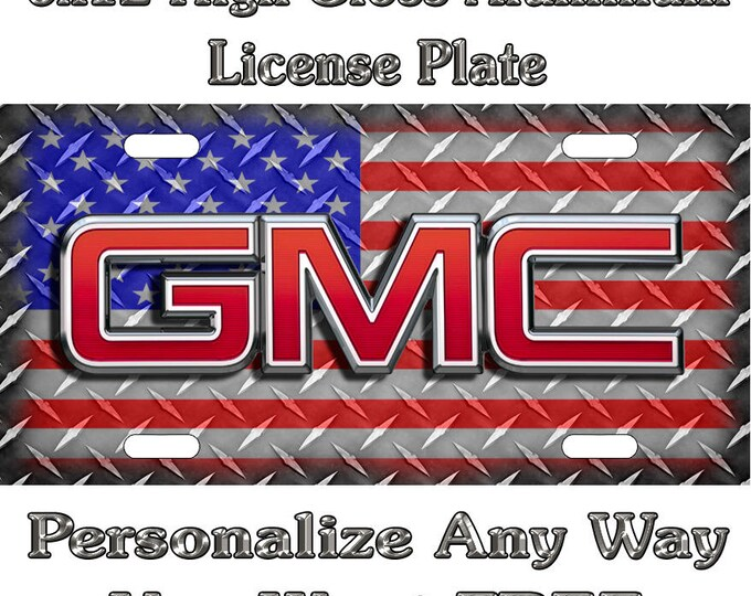 5402a6ccac5c GMC American Flag Diamond Plate Sign Custom Monogram License Plate Auto Car  Tag Personalize Background Wallpaper