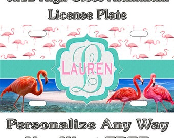 a0117e449961 Flamingo Beach Salt Life Sign Custom Monogram License Plate Auto Car Tag  Personalize Background Wallpaper Aluminum Novelty