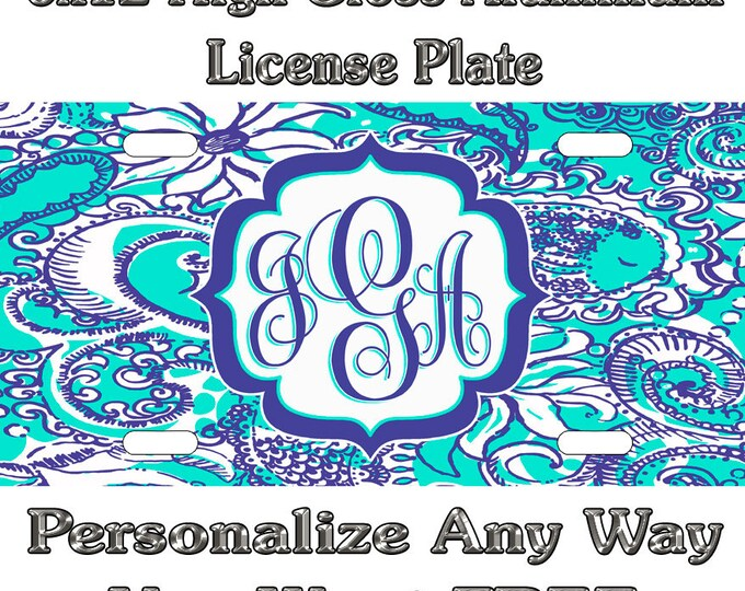 8d07dd02594a Lily Inspired Green Blue Sign Custom Monogram License Plate Auto Car Tag  Personalize Background Wallpaper Aluminum