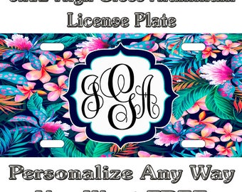 62063b09d55e Tropical Flowers Beach Life 2 Sign Custom Monogram License Plate Auto Car  Tag Personalize Background Wallpaper Aluminum Novelty