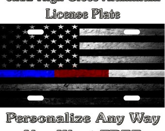 Thin Red Line Tattered Flag Blue Police Fire Sign Custom EMT EMS License Plate Auto Car Tag Personalize Background Wallpaper Aluminum White