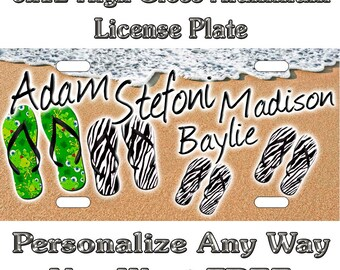 51247eec174f Beach Flip Flop Family Custom Monogram License Plate Auto Car Tag  Personalize Background Wallpaper Aluminum Novelty