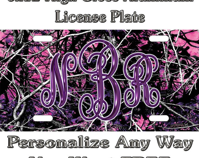 3e41ce606307 Muddy Girl Camo Sign Custom Monogram License Plate Auto Car Tag Personalize  Background Wallpaper Aluminum Novelty