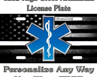 EMT EMS Paramedic No Decal Any Lettering Sign Custom Monogram License Plate Auto Car Tag Personalize Background Wallpaper Aluminum Novelty