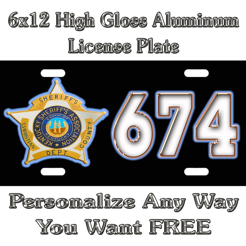 Sheriff KY Star Badge Sign Custom Monogram License Plate Auto Car Tag  Personalize Background Wallpaper Aluminum Novelty