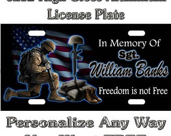 In Memory Of Fallen Soldier Sign Custom Monogram License Plate Auto Car Tag Personalize Background Wallpaper Aluminum Novelty