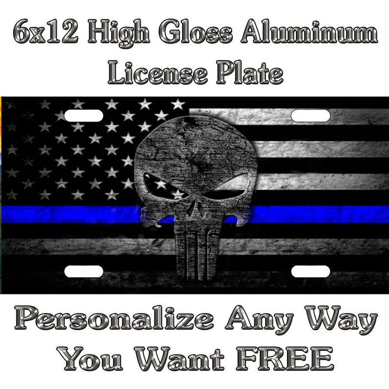 Blue Lives Matter Thin Line Punisher Sign Custom Monogram License Plate Auto Car Tag Personalize Background Wallpaper Aluminum No Decal