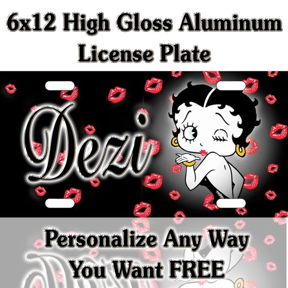 Betty Boop Blowing Kisses Custom Monogram License Plate Auto Car Tag Personalize