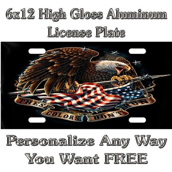 Personalized FREE Custom License Plate Frame American Flag USA Auto Tag