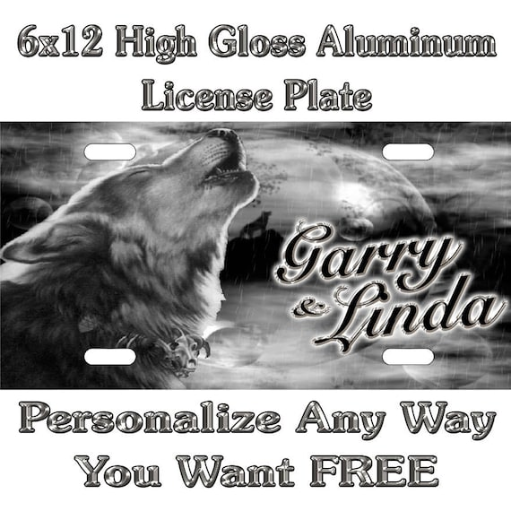 """WOLF /""""custom personalize License Plate/""""-Free Text"""
