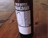 Beer Bottle Hangman Retro Glass Amber Pub Piece Glass Holder of Pencils, Cutlery, Pens, Tools, Match Sticks, Man Cave, White, Decor, Prop