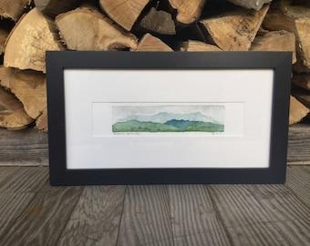 Original Watercolor, Monroe Skyline, Green Mountains, Vermont by Zarabeth Duell