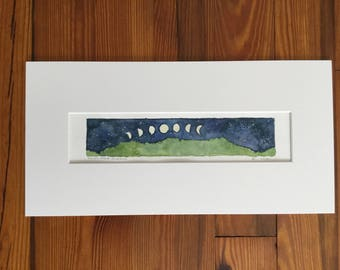 Original Watercolor, Moons over Monroe, Green Mountains, Vermont by Zarabeth Duell