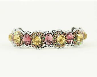 """Pink Pewter """"Juniper"""" Flexible Cuff Bracelet (beaded and embellished with sequins)"""