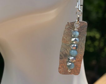 Hammered Sterling Silver mixed Metals Earrings with Sky Blue Faceted Glass Beads