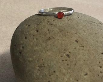 Orange Chalcedony Sterling Silver Ring