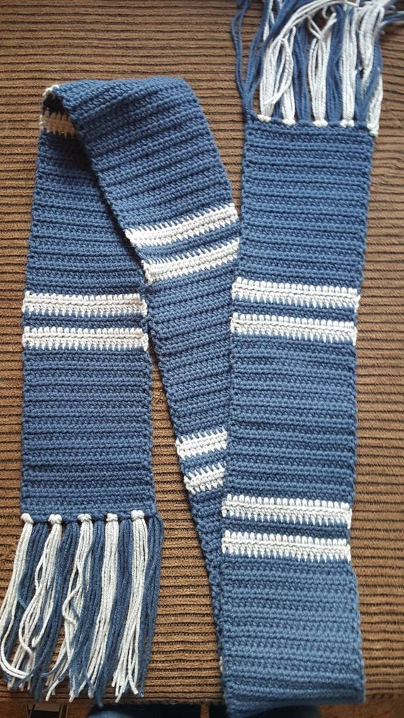 Inspired By Harry Potter Ravenclaw Colors Scarf Blue And Grey Etsy