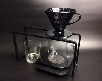 Steel  pour over stand for drip coffee and Aeropress ( black powder coating)