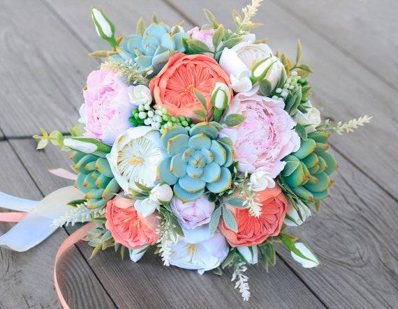 Pfingstrose Hochzeitsstrauss Rosa Ton Blumen Saftig Strauss Etsy