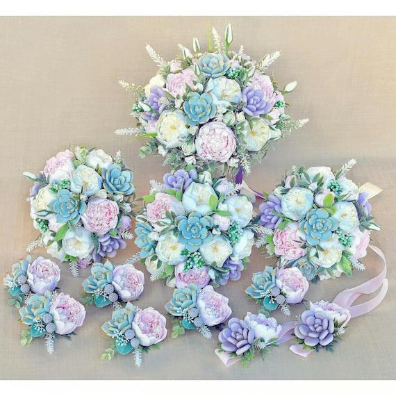 Purple Succulent Wedding bouquet Keepsake bridal bouquet Succulent bouquet Clay flowers bouquet wedding package Garden bouquet Bohobouquet