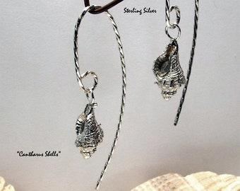 """Earrings, """"Small Cantharus"""" solid sterling silver casts"""