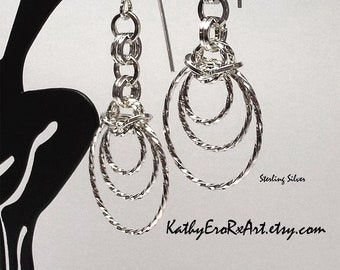 """Chain Maille """"Half Byzantine with Triple Twisted Insets"""" Sterling Silver Earrings"""