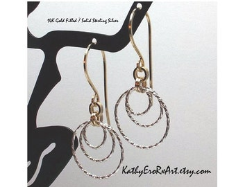 """Chain Maille """"2 & 2 with Triple Twisted Sterling Inset"""" 14/20K Gold Filled Earrings"""