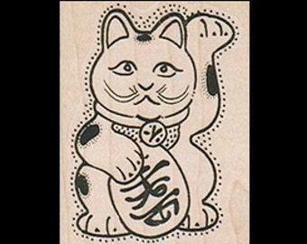 MANEKI NEKO Rubber Stamp, Japanese Lucky Cat, Lucky Cat Rubber Stamp, Maneki Neko Stamp, Lucky Charm Stamp, Lucky Cat Favor, Lucky Cat