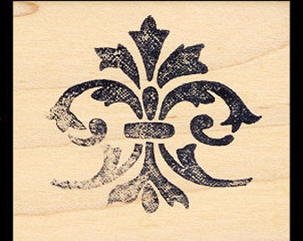 FLEUR DE LIS Rubber Stamp Textured Flourish Fleur De Lis Distressed Texture Lys French Flower Wood Mounted