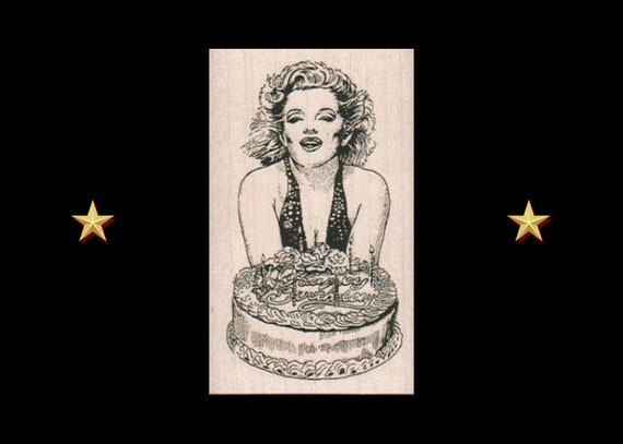 Tremendous Marilyn With Cake Rubber Stamp Marilyn Monroe Stamp Birthday Etsy Funny Birthday Cards Online Alyptdamsfinfo