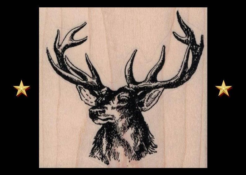 DEER HEAD Rubber Stamp Deer Buck